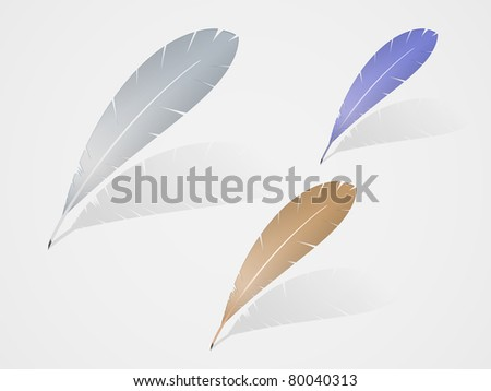 set of vector multicolored feathers with shadow icon design. EPS 10. - stock vector
