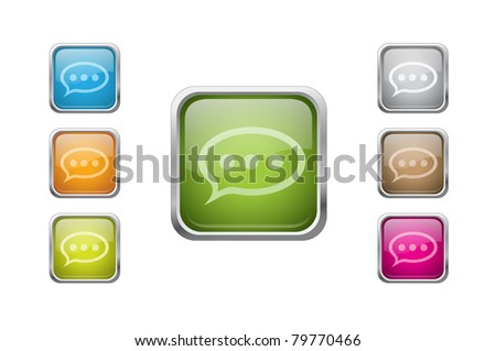 Set of vector multicolored glossy rounded square buttons with note sign icons. EPS 10. - stock vector
