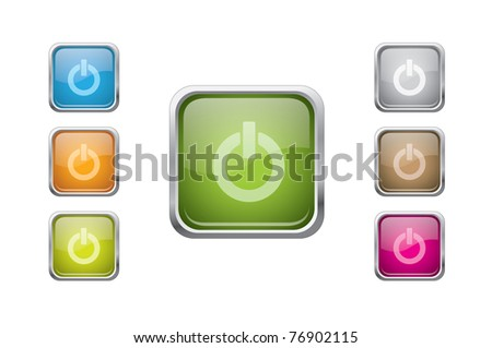 set of vector multicolored glossy rounded square buttons with power sign - stock vector