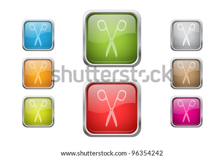 Set of vector multicolored glossy rounded square buttons with scissors sign icons - stock vector