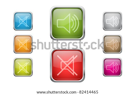 Set of vector multicolored glossy rounded square buttons with volume sign icons. EPS 10. - stock vector