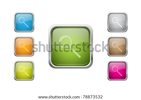 Set of vector multicolored glossy rounded square buttons with zoom sign icons. EPS 10. - stock vector