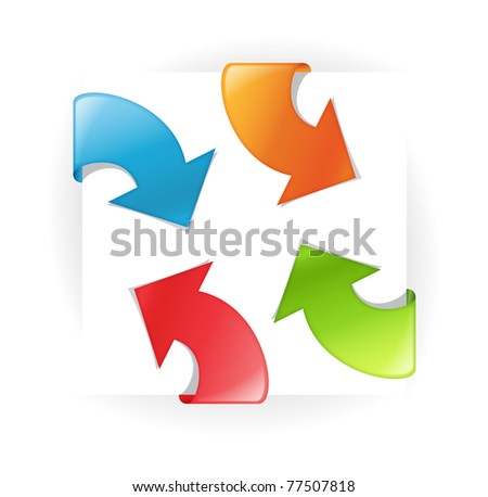 set of vector multicolored ribbons with arrow