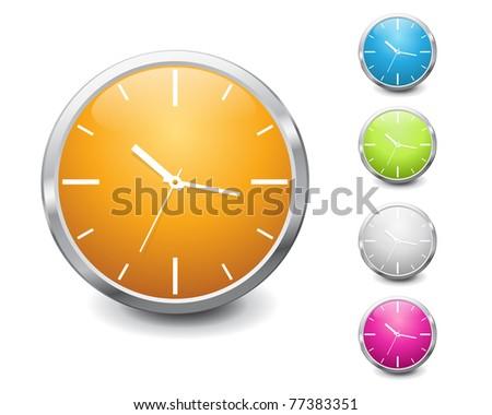 set of vector multicolored shiny clock icon design - stock vector
