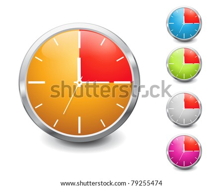 set of vector multicolored shiny 15 minutes timer. EPS 10. - stock vector