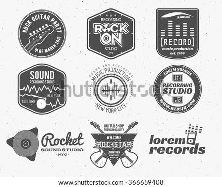 set vector music production logolabel sticker stock vector