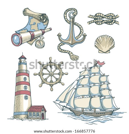 Set of vector nautical illustrations - stock vector