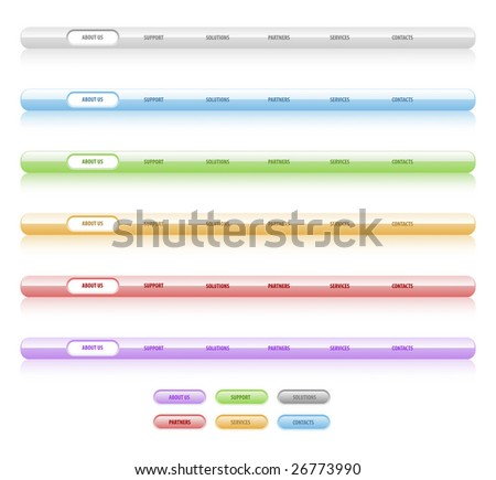 Set of vector navigation templates. Different colors. Easy to edit, any size, aqua web 2.0 - stock vector