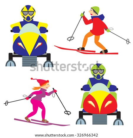 Set of vector objects funny sportsmen. Skiers and people on snowmobiles - stock vector