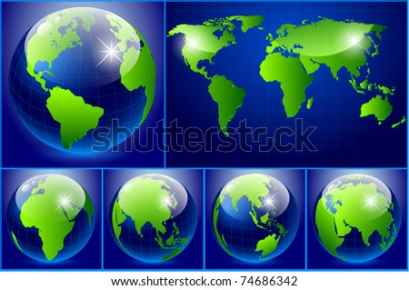Set of vector of earth - stock vector
