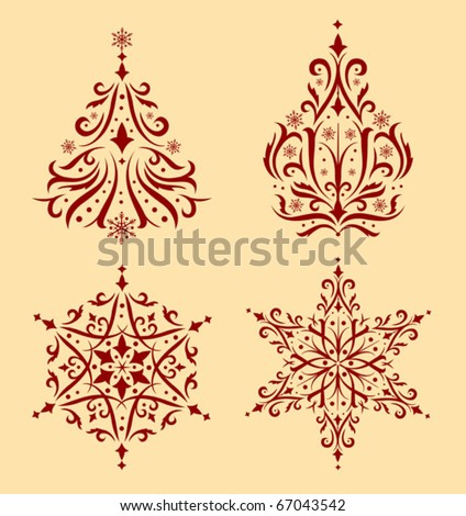 Set of Vector ornamental christmas trees and snowflakes - stock vector