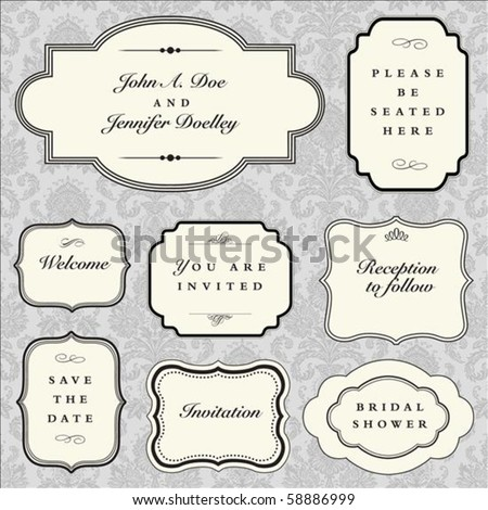 Set of vector ornate frames with sample text. Perfect as invitation or announcement. Background pattern is included as seamless swatch. All pieces are separate. Easy to change colors and edit. - stock vector