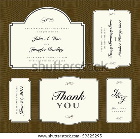 Set of vector ornate frames with sample text. Perfect as invitations or announcements. Background pattern is included as seamless swatch. All pieces are separate. Easy to change colors and edit. - stock vector