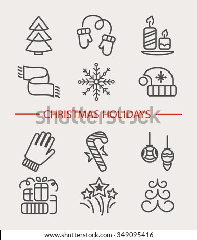 Set of 12 vector outline Christmas icons. Vector illustration of Winter celebration objects. Christmas and New Year elements for banners, postcards, flyers and other design. - stock vector