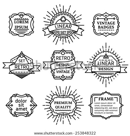 Set of vector outline logo templates. Retro linear badges, labels, ribbons, frames and emblems. There is place for your text. - stock vector