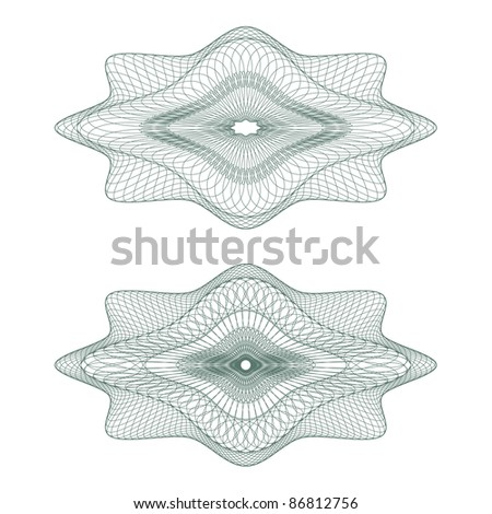 Set of vector oval guilloche pattern for currency, certificate or diplomas - stock vector