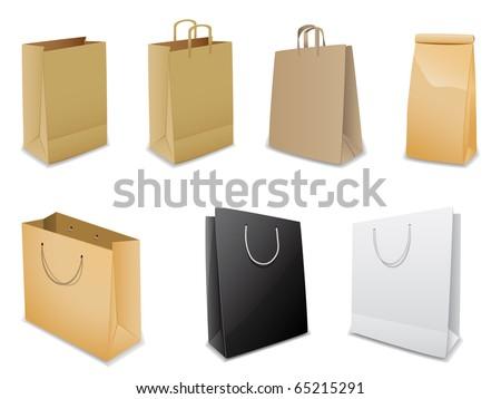 Set of vector paper bags - stock vector