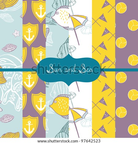 set of vector paper for scrapbook Sun and Sea - stock vector