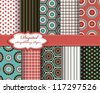 set of vector pattern paper for scrapbook - stock vector