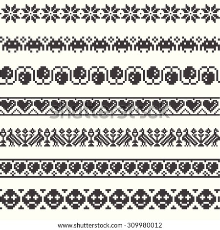 Set of vector Patterns for Embroidery Stitch  - stock vector