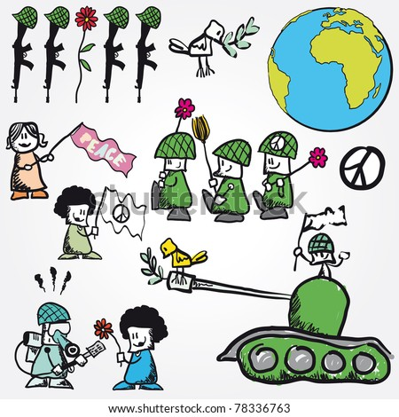 Set of Vector peace concept symbol anti-war