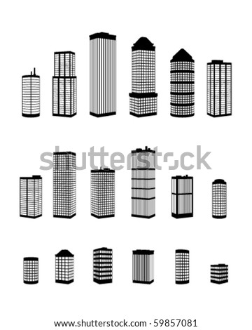 Set of vector perspective buildings  silhouette - stock vector