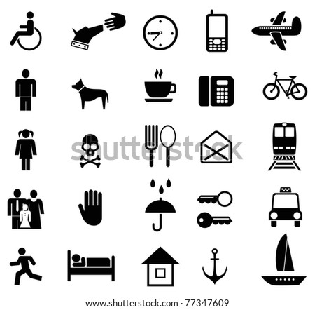 Set of vector pictograms. Black icons on white. Simple pictures of people and objects. - stock vector