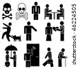 Set of vector pictograms - people engaged in different occupations. Black & white icons, isolated design elements. - stock vector