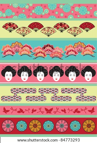 Set of vector pictures containing ethnically Japan elements for cloning and putting together - stock vector