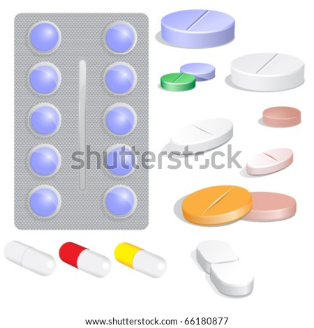 Set of vector pills - stock vector