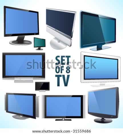 Set of 8 vector plasma LCD TV display. - stock vector