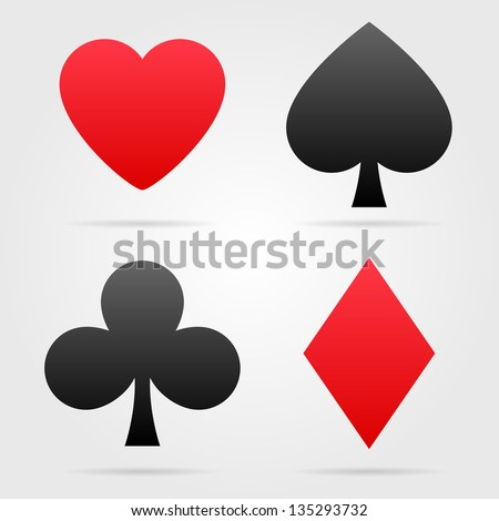 Set of vector playing card symbols with shadows - stock vector