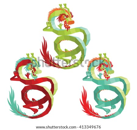 Set of Vector Polygonal Chinese Dragons. Legendary Creature in Chinese Mythology - Colorful Asian Dragon on a White Background. Vector Illustration of Modern Polygonal Chinese Dragon for Your Design. - stock vector