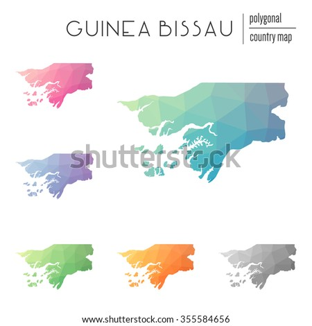 Set of vector polygonal Guinea Bissau maps. Bright gradient map of country in low poly style. Multicolored country map in geometric style for your infographics