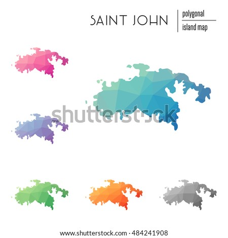 set of vector polygonal saint john maps filled with bright gradient of low poly art