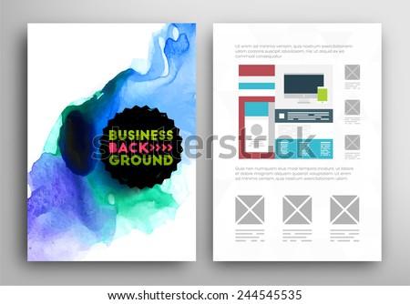 Set Vector Poster Templates Watercolor Paint Stock Vector 244545535