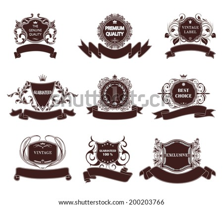 Set of vector premium quality labels  with retro vintage styled design. - stock vector