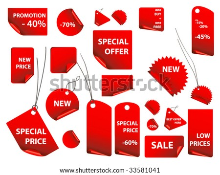 set of vector price tags - stock vector