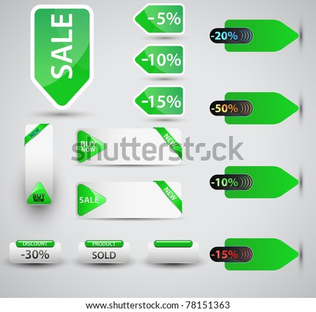 Set of vector price tags. You can use it for any sale time or seasons.Shadows will work on any color surface. - stock vector