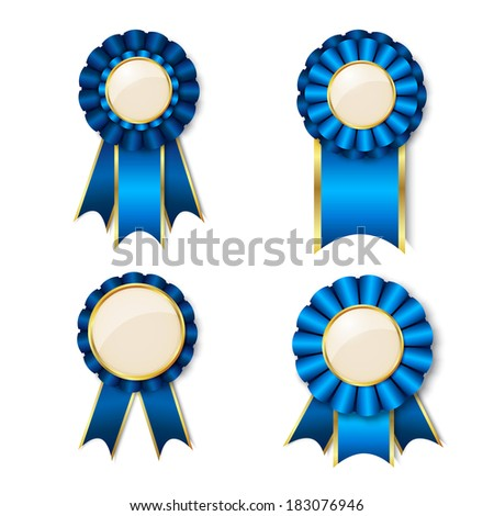 Set of vector prize ribbons with place for text - stock vector