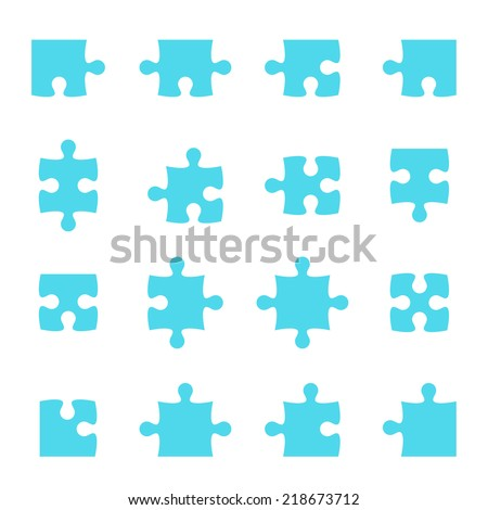 Set of vector puzzle pieces. jigsaw.   - stock vector