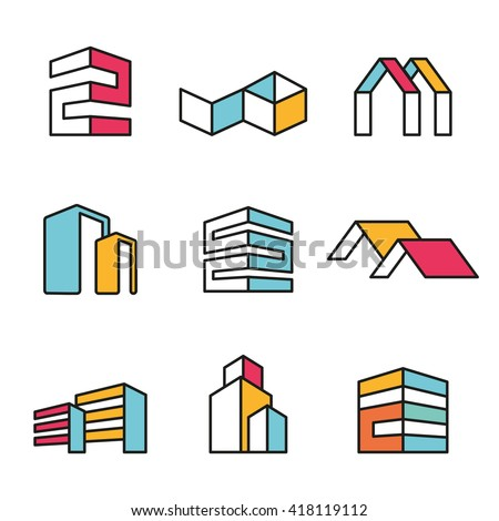 Set of vector real estate house logo designs, Vector, flat icon, badges, labels, clip art. Line art style. Variable line - stock vector