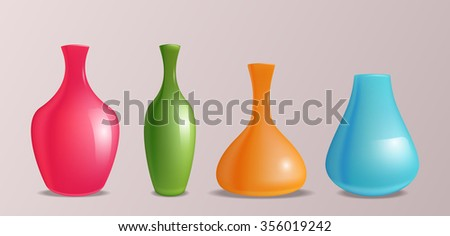 Set of vector realistic colorful vases for design and your creativity