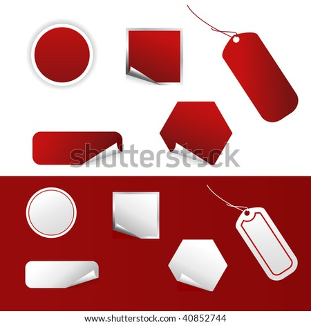 Set of vector realistic price tags.
