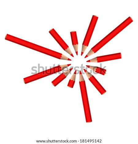 set of vector red crayons placed in circle on white background