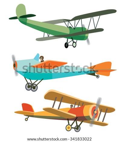 Set of Vector Retro Airplanes - stock vector