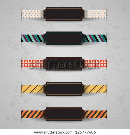 Set of vector retro and vintage ribbons - stock vector