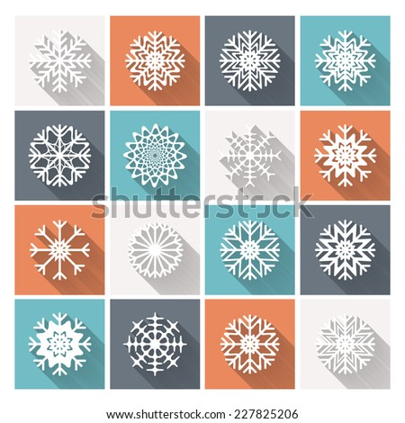 Set of vector retro flat snowflakes with long shadow. Trendy design EPS10 - stock vector