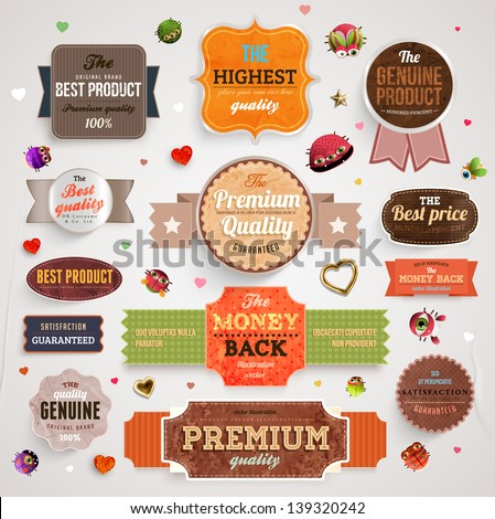 Set of vector retro ribbons, old dirty paper textures and vintage labels, banners, hearts and emblems. Elements for design. - stock vector