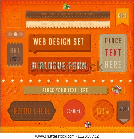 Set of vector retro ribbons, old dirty paper textures and vintage labels. Elements for web design templates. Letterpress effect. - stock vector